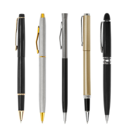 Set of pens isolated on white background