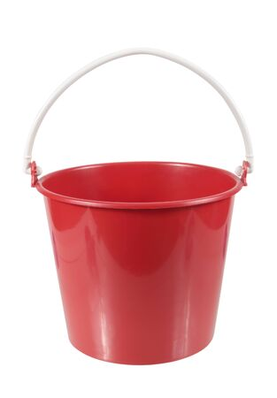 drudgery: empty red plastic household bucket isolated on white background Stock Photo