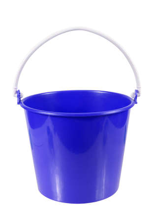 drudgery: empty blue plastic household bucket isolated on white background