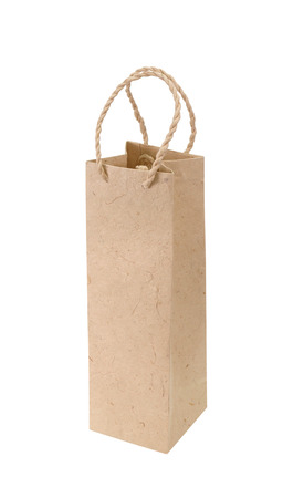 gift bags: brown paper bag for wine bottles isolated on white