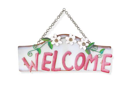 metal chain: Welcome sign with metal chain isolated on white