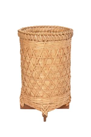 homeware: wicker basket, bamboo basket on white background.