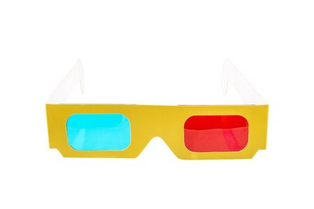 stereoscope: Red-blue paper glasses for view 3-dimensional films and images. Isolated on white background. Stock Photo