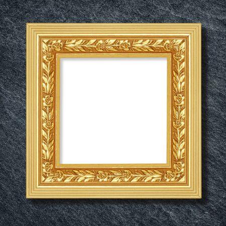 GLOD: The antique frame on Dark grey black slate background or texture,glod frame Stock Photo
