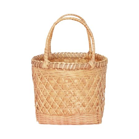 wicker work: bamboo basket for Market Shopping isolated on white