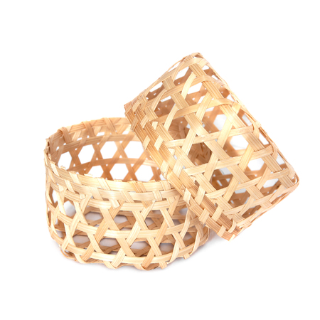 wicker work: Small bamboo basket on white background