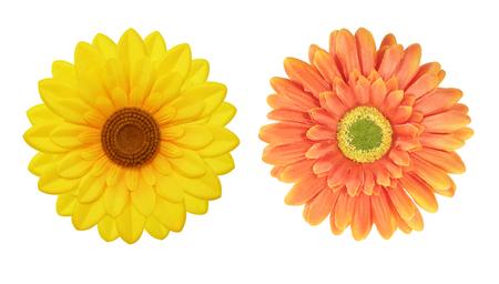soft furnishing: Flowers made of fabric isolated on white Stock Photo