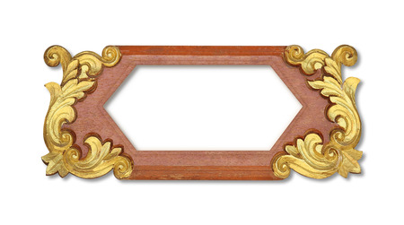 Signs Wood carving gold paint Retro frame isolated on white background