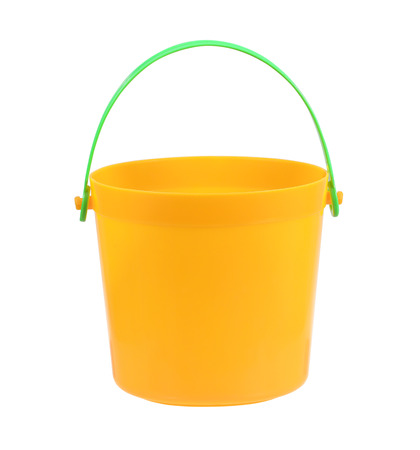drudgery: plastic bucket isolated on white background Stock Photo