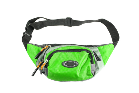 green waist pouch isolated on white background.