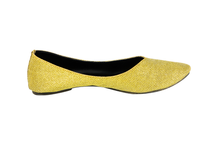 opentoe: woman gold shoes isolated on white Stock Photo
