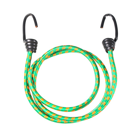 stretchy: stretched rope with hook isolated on white.