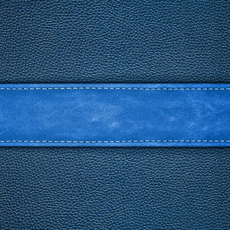 leather background: stitched blue leather background Stock Photo