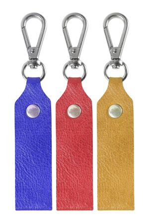 bibelot: Colorful Leather key chain isolated on white background.