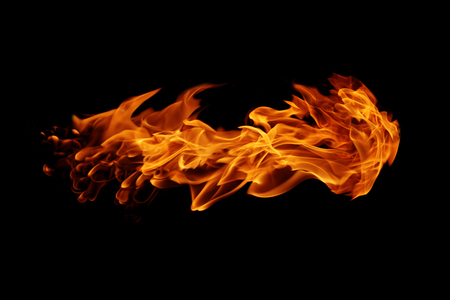 ablaze: Abstract  Fire flames on black background Stock Photo
