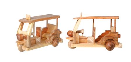 Tuk Tuk wooden toy model isolated on white background Stock Photo