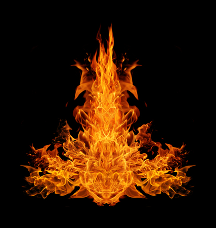 Abstract  Fire flames on black background Stock Photo