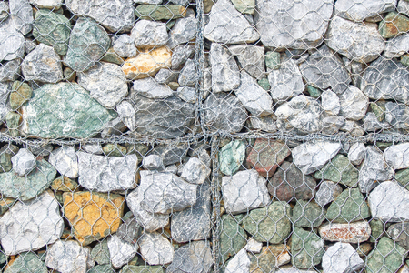 strengthen: stones in metal mesh to strengthen the banks of the river