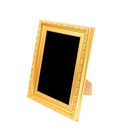 gold picture frame: Gold picture frame on the white background