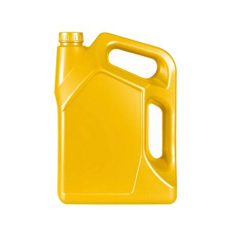 yellow gallon canister with engine oil isolated on white background