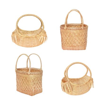 basketry: bamboo basket and dry Water hyacinth basket  Market Shopping isolated on white Stock Photo