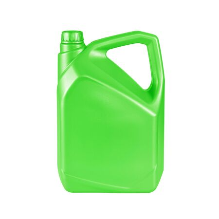 canister: green gallon canister with engine oil isolated on white background