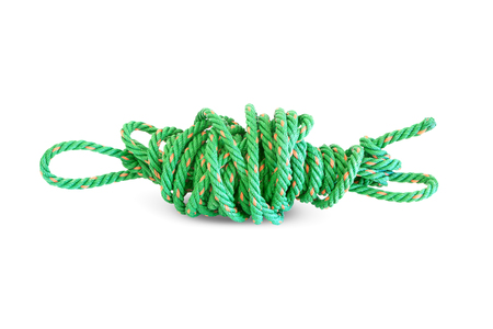 old used plastic rope on white background