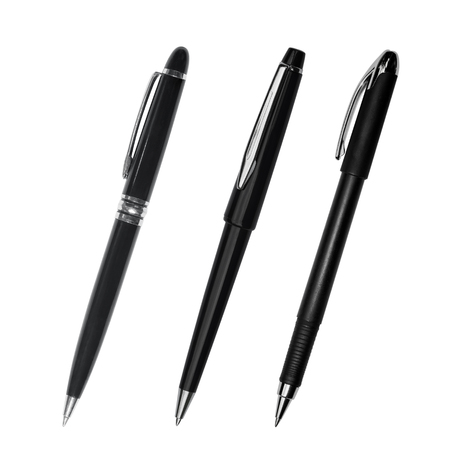 ball pens stationery: Black pen isolated on white background Foto de archivo