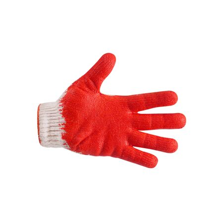 red rubber protective gloves isolated on white background