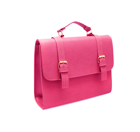 leather bag: pink leather bag on white background
