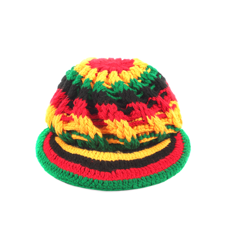 Colorful hat wool front isolated on white