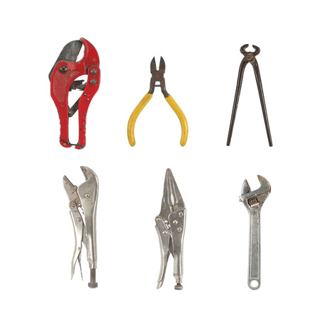 Old used tools collection isolated on white background Stock Photo