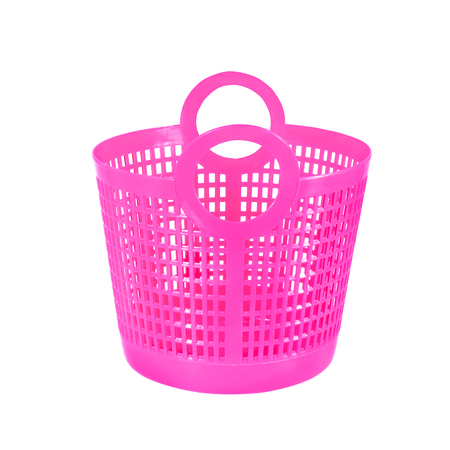 Small pink plastic basket isolated on white