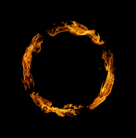 Circle of fire flame on black background