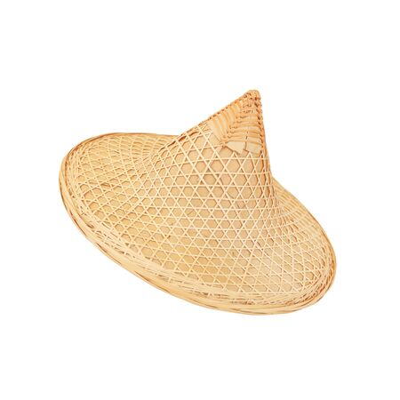 3f010b5a591 Asian conical bamboo hat on white background