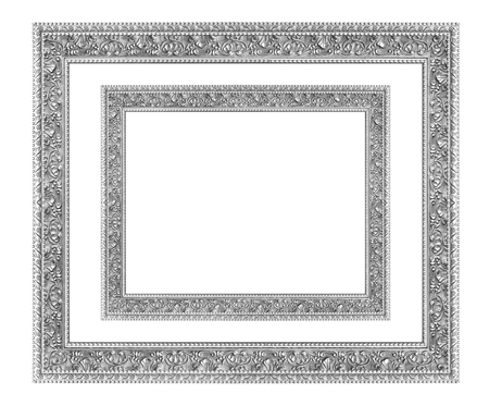 silver frame: The antique silver  frame on the white background
