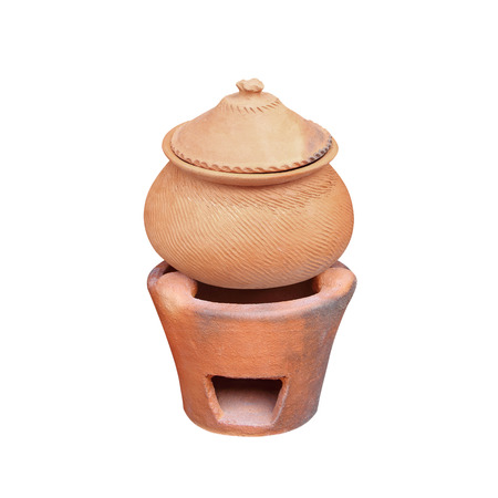 Clay pot for cook and clay stove on white background