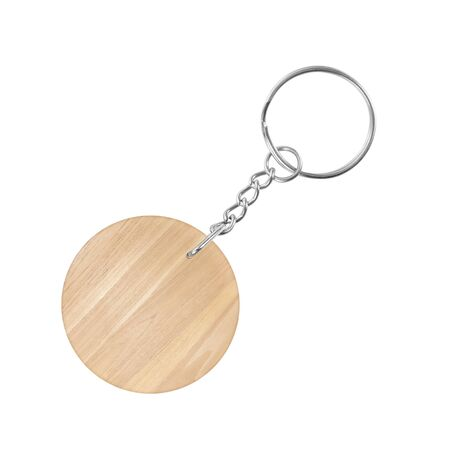 wooden key chain with rings isolated on white background
