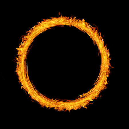 Fire circle twirl motion on black background twirl motion of fire flame Stock Photo - 73733214