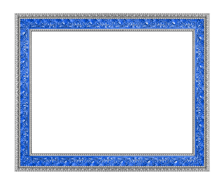 silver frame: The antique silver and blue frame on the white background