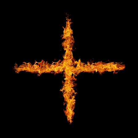fire flame cross symbol on black background