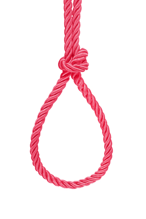 hanging red rope knot tied  isolated on white