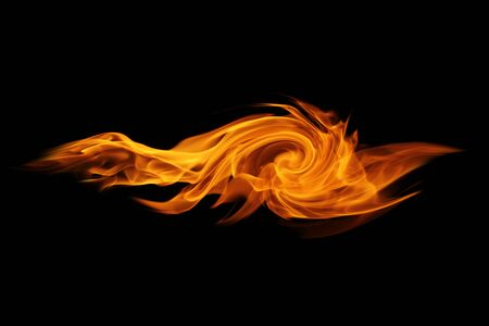 gas fireplace: Abstract  Fire flames on black background Stock Photo