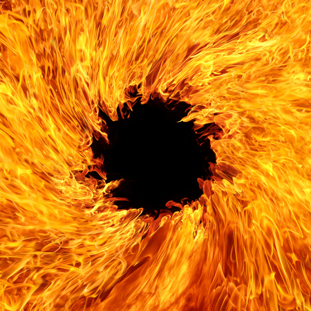 Fire flames with black hole,blaze fire flame texture background Stock Photo