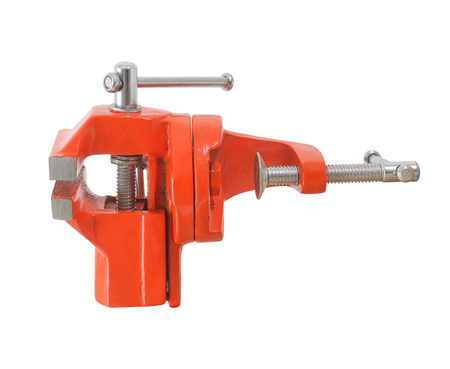 Mechanical hand vise red clamp, isolated on white background Stock Photo