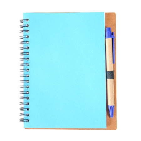 Notebook with blue pen isolated Foto de archivo
