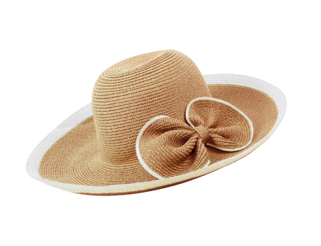 Pretty straw hat  on white background Stock Photo