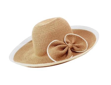 dressy: Pretty straw hat  on white background Stock Photo