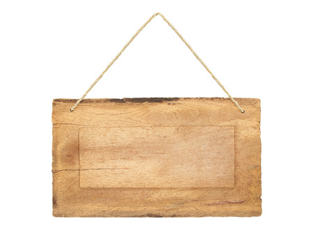 hangers: empty wooden sign with lope for hang on white background