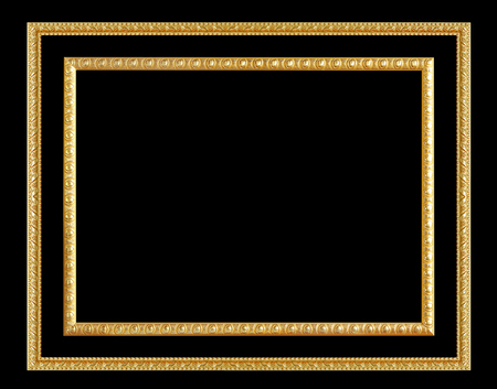 mirror frame: The antique gold frame on the black background Stock Photo